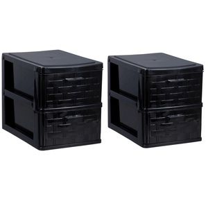 2 Black 2-Tiered Plastic Mini Storage Drawers NEW